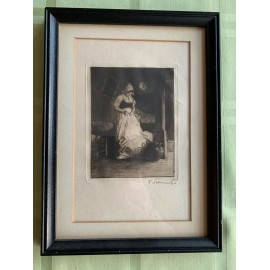 ANTIQUE Engraving DUTCH WOMAN DRESS On Kitchen In Nice Wood Frame Under Glass