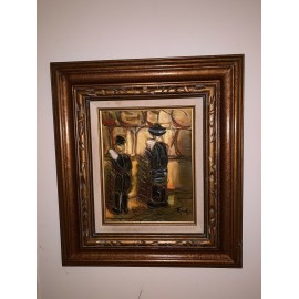 Great Vintage Judaical Painting Signed Wood Frame 16x18 and 7.5x9.8 Inches