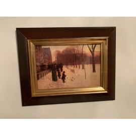 CHILDE HASSAM Vintage Color Print In Wood Frame Under Glass 12.6x10 Inches Frame