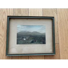 Antique Arts Crafts Picture Signed Frame Green Wood Glass 9.5x7.8 and 5.8x4 Inch