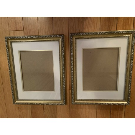 2 Picture Wood Frames Gold Color Mated Under Glass 13x16 and 7.5x9.5 Inches