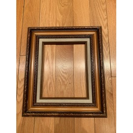 Vintage Amazing Picture Wood Frame lightly Dark Color 13x15 and 8x10 Inches