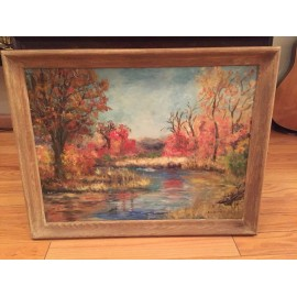 Beautiful Autumn Forest Painting Oil On Board Signed by Artist 27:20 , 23:17.5in