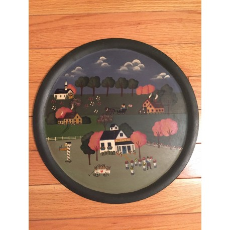 Vintage Folk-Art Village Scene Original Painting On Wood Tray 15.5 inch diameter