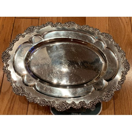 VINTAGE R WALLACE & SONS STERLING SILVER BREAD TRAY 531 Gr/ 18.73 Oz, N372, 14N