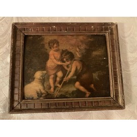 Antique Print In Wood Frame two children and a sheep 10.5x8.5 Inches Frame