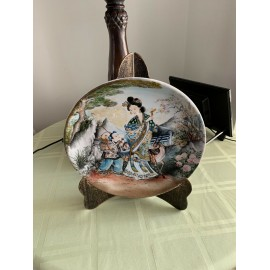 Hand Painted Amazing Diameter 10 Inches Cabinet Plate Hand Painted By P C Chen