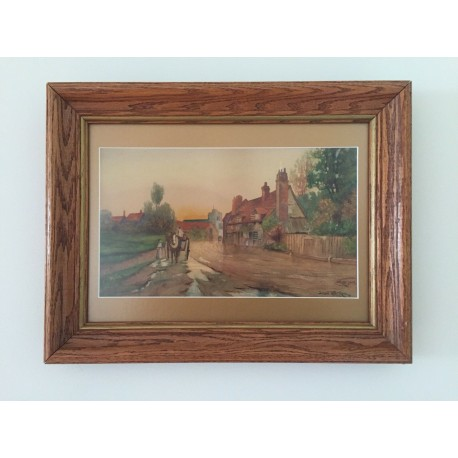 Antique 1905 Watercolor Artist-Jaray, Wood Vintage Frame 16.5x13 and 12.3x7.1 In