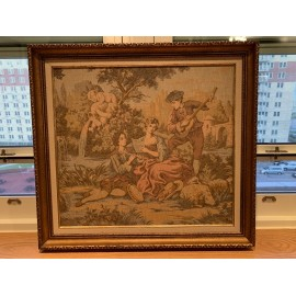 Wool Needlepoint Artwork Carved Wood Frame SIGNED Mid Century Size 26x24 Inches
