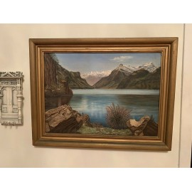 Antique original oil on board painting in gold colored wood frame Size 19.5x15