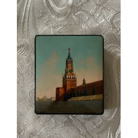 Vintage Signed Soviet Russian Fedoskino Lacquer Box Moscow Kremlin Tower 1964