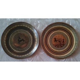 Pair (2) Vintage Hand Painted Greece Copper Brass Wall Hanging Plate Wall Decor