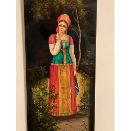 Antiques Hand painted USSR FEDOSKINO lacquer PANEL 1928 Russia Size 16x6 Inches