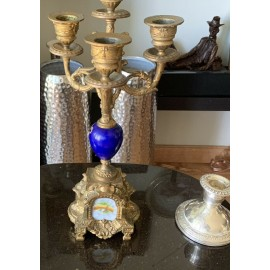 Antique Baroque French Porcelain & Brass Candelabra Tall 13 Inches.