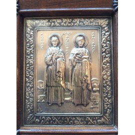 VINTAGE STERLING SILVER REPOUSSE GREEK ICON PLAQUE With oak frame and applied