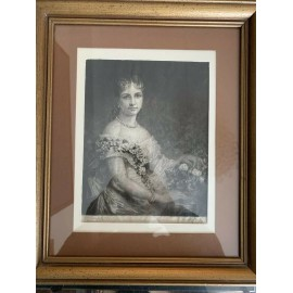 Rare Antique Lady Engraving signed by Daniel Huntington 1880