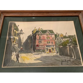 John R Good 1940s Paris Art WaterColor Print Framed French Artist 16.5x13.5 Inch