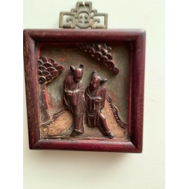 Antique 19CT Chinese Carved Wood Red Bed Panel 2 People on Terrace Size 6x6 Inch