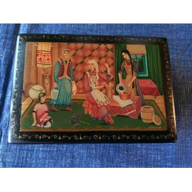 "Palekh Original Vintage, USSR, Lacquer Box ""Family, Before 1985, Author Ignatiev"